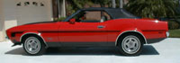 71 red and black Mustang convertable